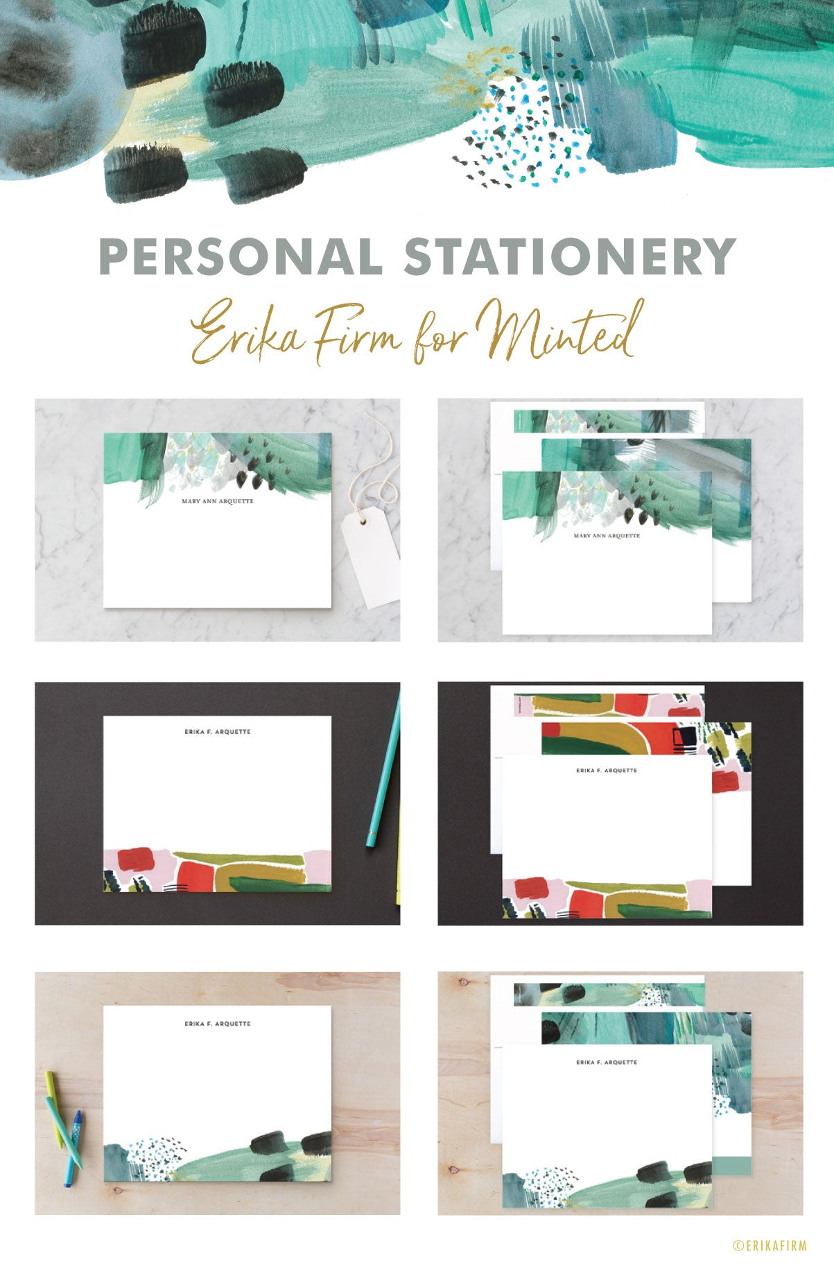 abstract notecards personal stationery by Erika Firm for Minted.com