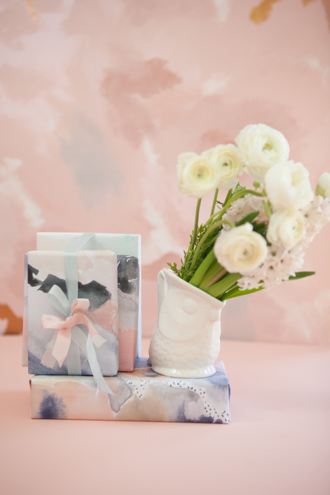 rose quartz and serenity gift wrap by erika firm for revel and co.