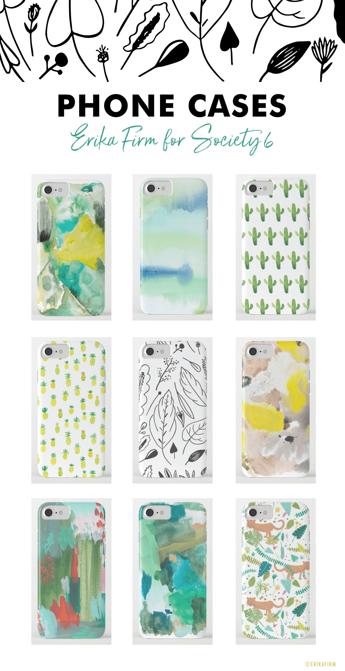 fun designer phone case designs by Erika Firm for Society 6