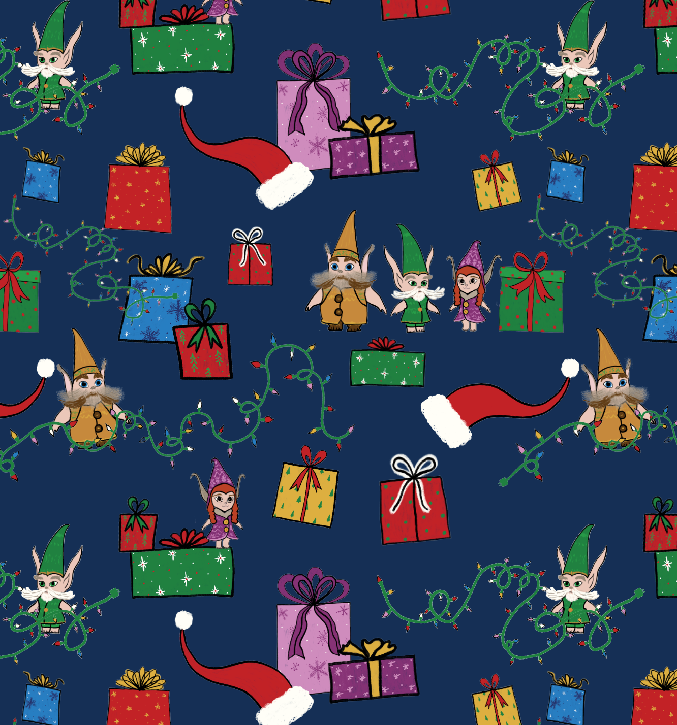 The Christmas Chronicles wrapping paper pattern by Erika Firm for Netflix