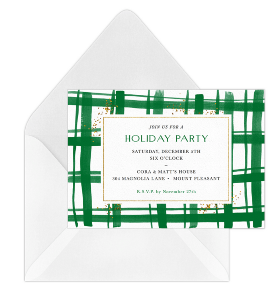 Green Painted Plaid Holiday Party Online Invitation by Erika Firm for Greenvelope