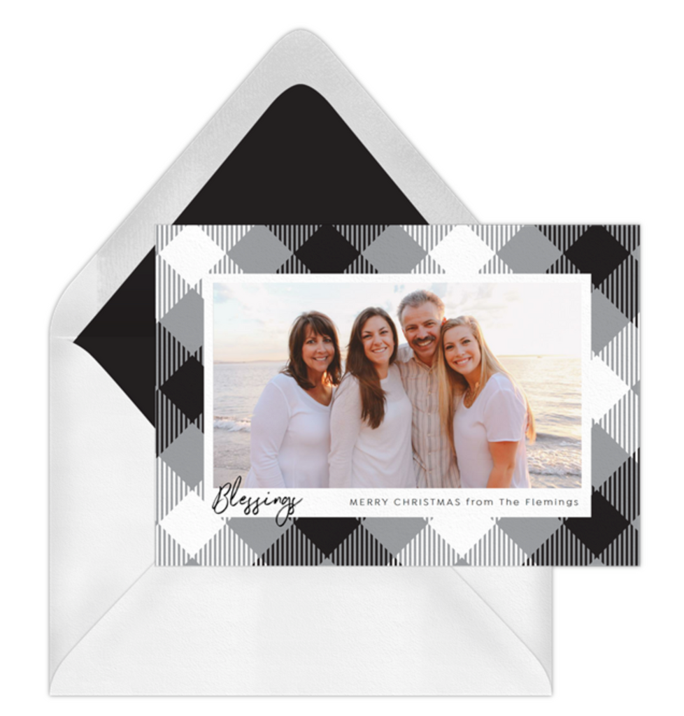 Plaid Photo Frame hoilday card in black and white Buffalo Plaid by Erika Firm for Greenvelope