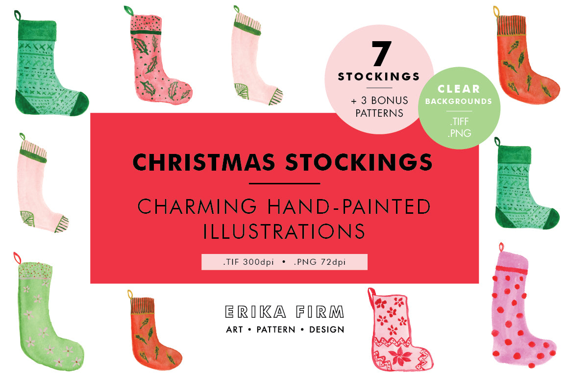 Christmas Stockings watercolor illustrations by Erika Firm for Creative Market
