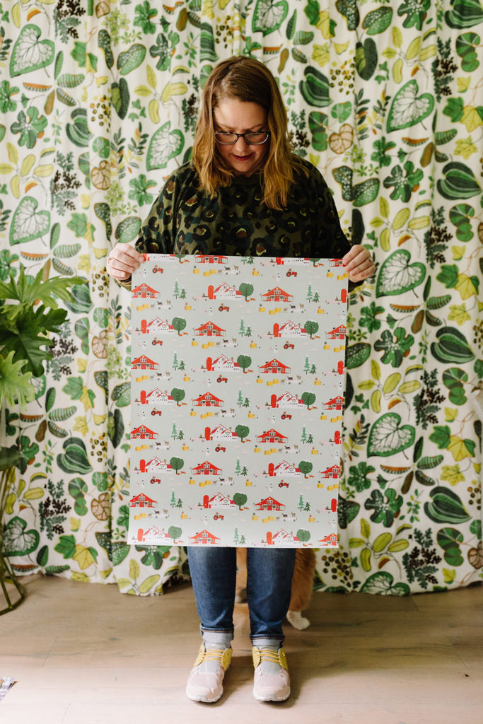 Farm Christmas wrapping paper by Erika Firm for Revel & Co. 2019