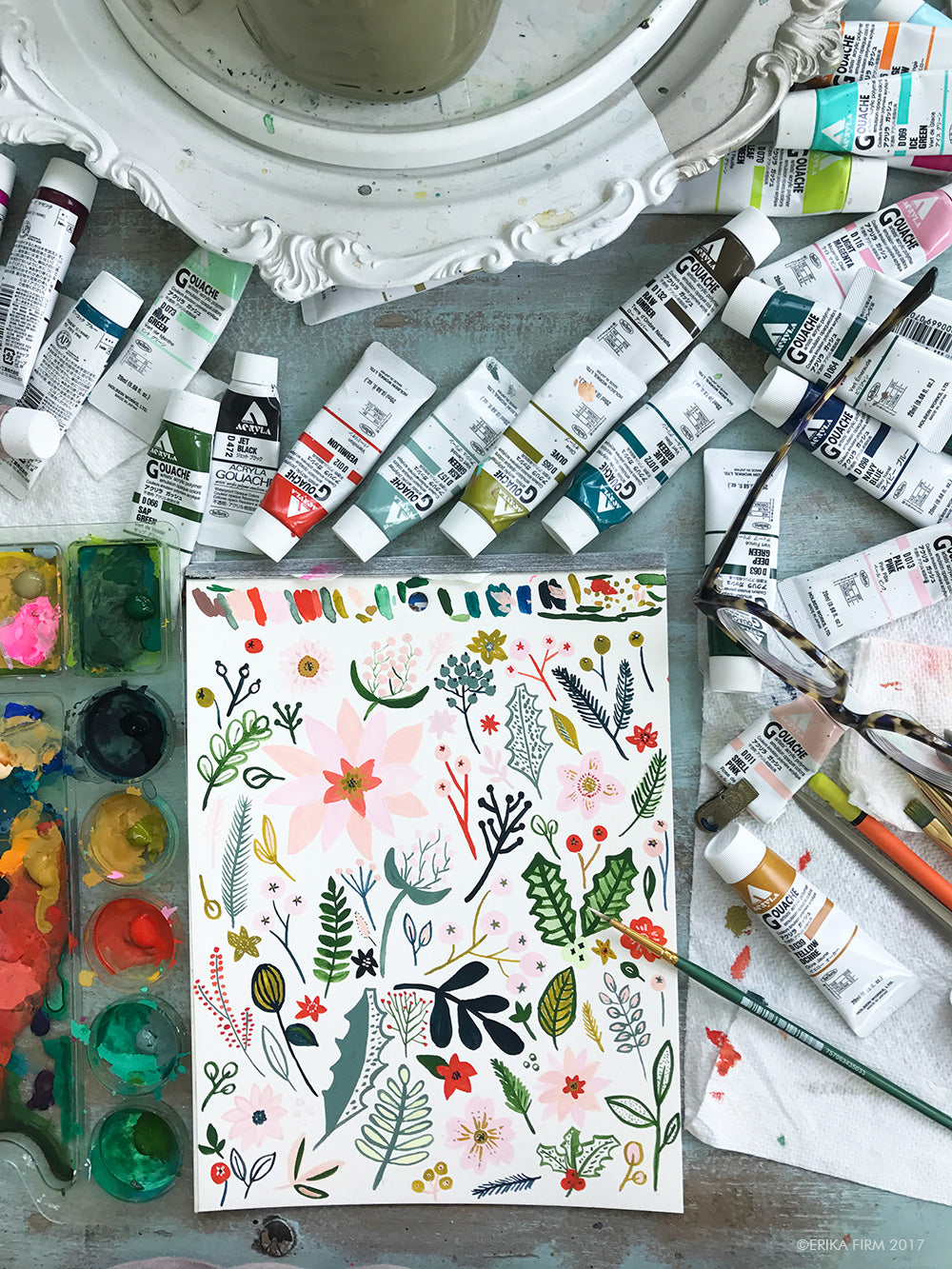 Holiday floral doodles by Erika Firm for holiday 2017