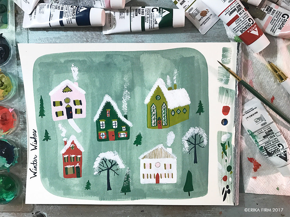 Winter cottages painting by Erika Firm 2017