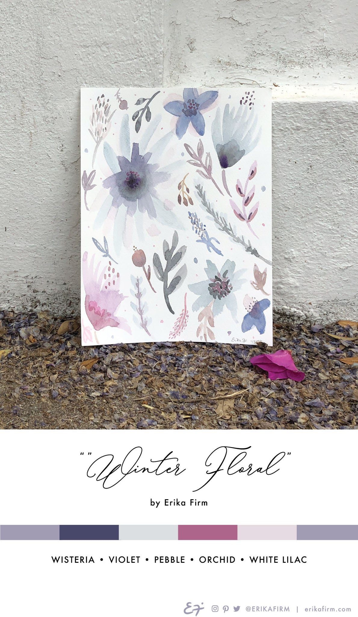 Winter Floral watercolor painting by Erika Firm