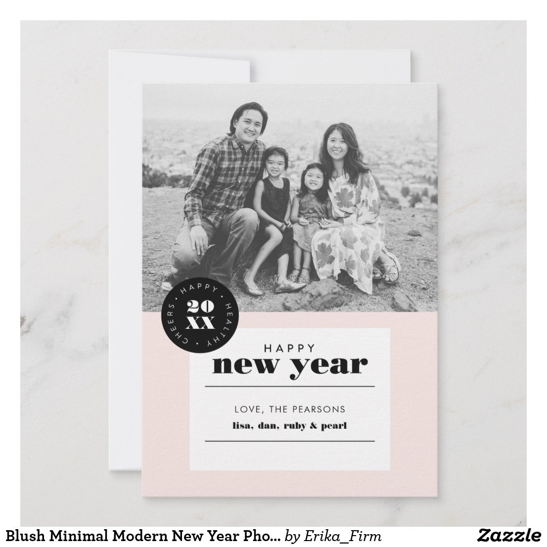 Modern Minimal New Year card by Erika Firm for Zazzle 2018