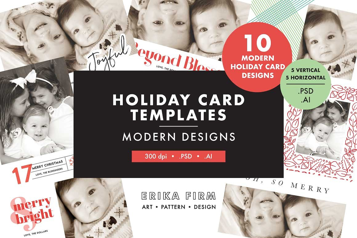 Erika Firm for Creative Market Modern Christmas Photo Card Template Download