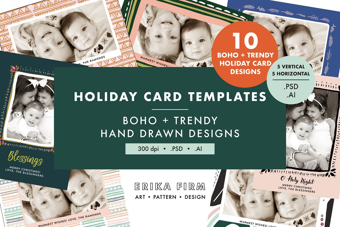 boho modern christmas photo card templates by Erika Firm