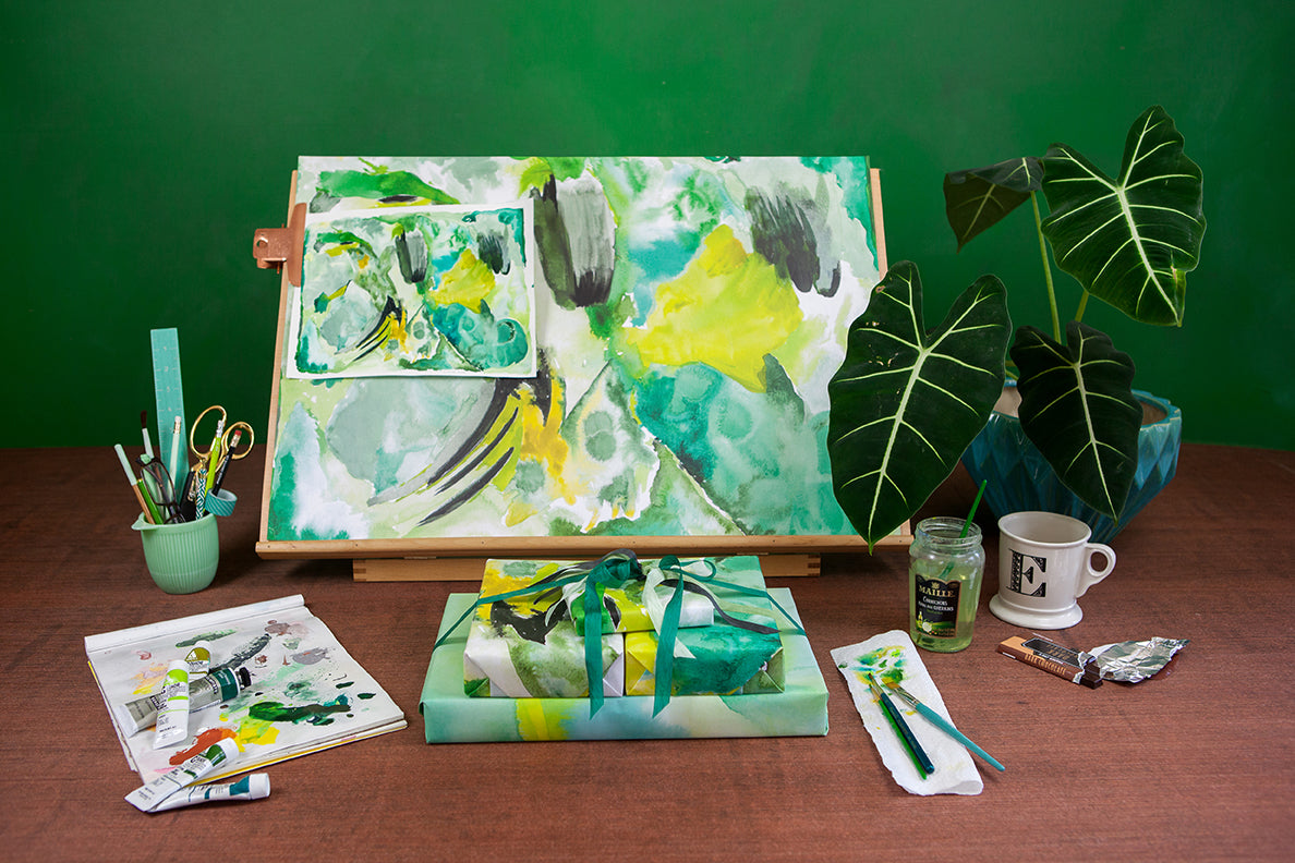 emerald green abstract paintings