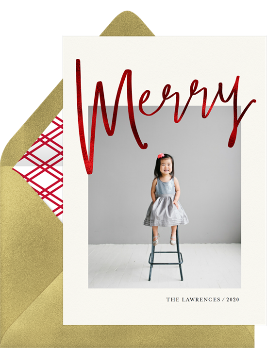 Merry Red Foil Online photo card by Erika Firm for Greenvelope