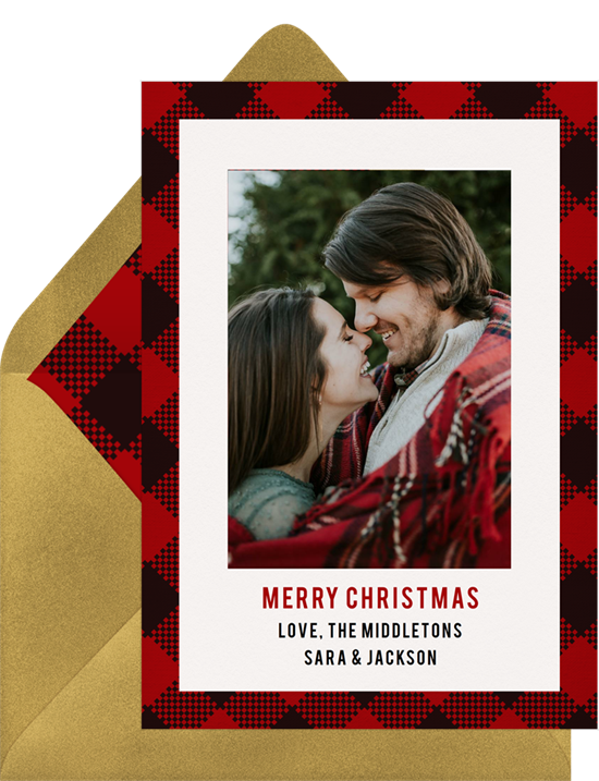 Modern Buffalo Plaid online Christmas photo card by Erika Firm for Greenvelope Red and Black Buffalo Check