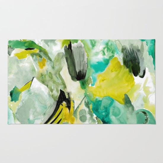 Abstract Green and Yellow rug by Erika Firm from Society 6