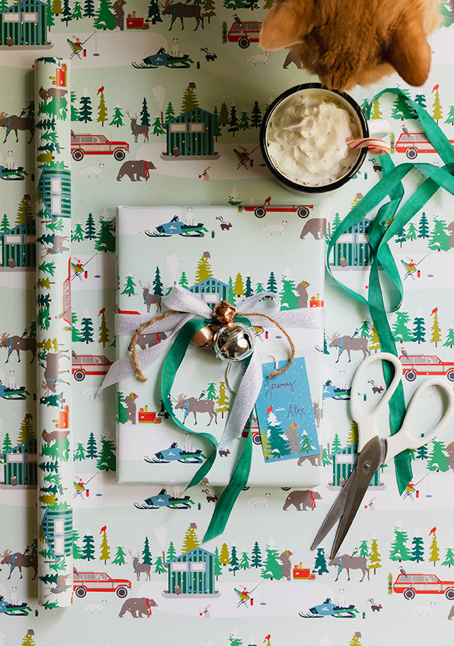 Bear Camp ice fishing wrapping paper by Erika Firm for Revel and Company 2019