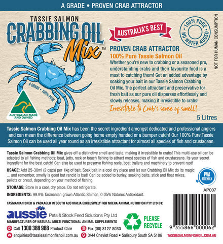 Image of 5 Litre <br>Tassie Salmon Crabbing Oil Mix <br>Crab Attractant