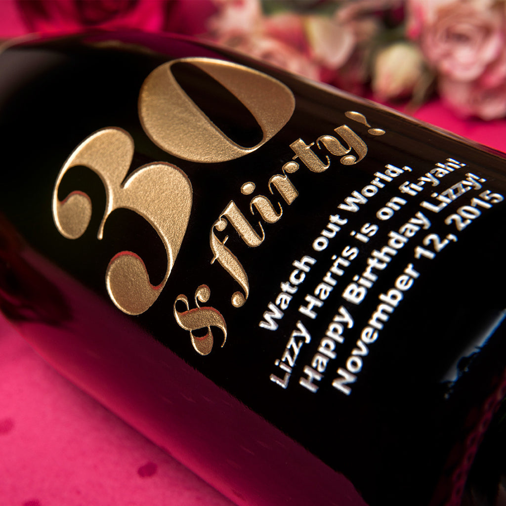 30 & Flirty! Etched Wine
