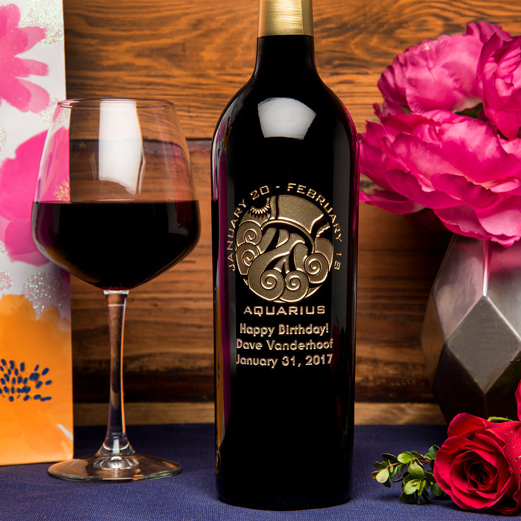 Aquarius Birthday Etched Wine