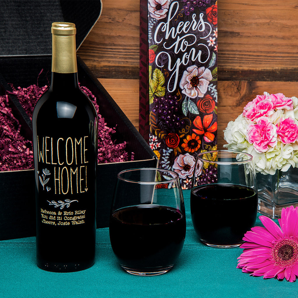 Welcome Home Flower Etched Wine Gift Set