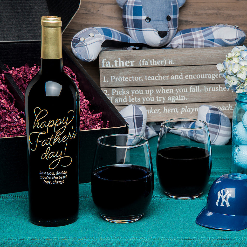 Beloved Father's Day Etched Wine Gift Set