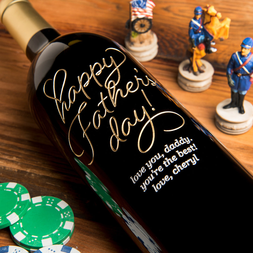 Beloved Happy Father's Day Etched Wine