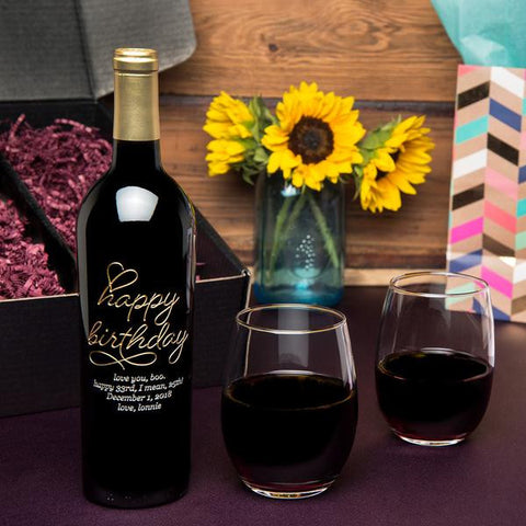 Beloved Birthday Etched Wine Gift Set