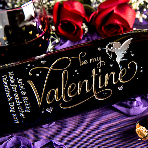 Be My Valentine Etched Wine