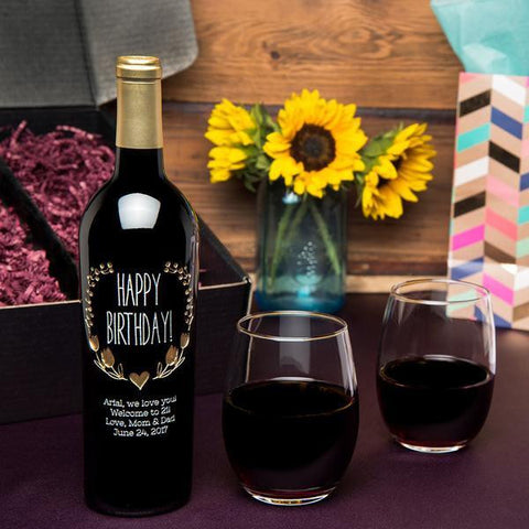 Happy Birthday Wreath Etched Wine Gift Set