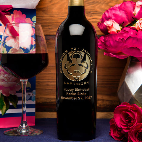 Capricorn Birthday Etched Wine
