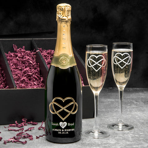 Modern Infinity Etched Wine Gift Set