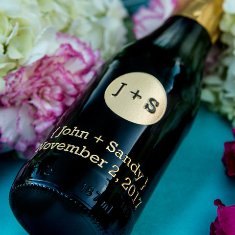 Circle Monogram Etched Favor / 6 btl set