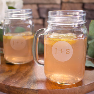 Circle Monogram Mason Jar Mugs