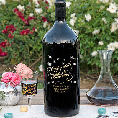 Classic Birthday 3.0 Liter Bottle Etched Wine