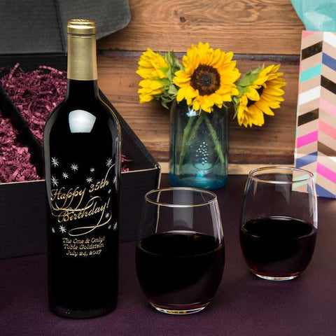 Classic Happy Birthday Etched Wine Gift Set
