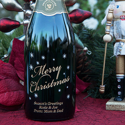 Classic Merry Christmas Etched Wine
