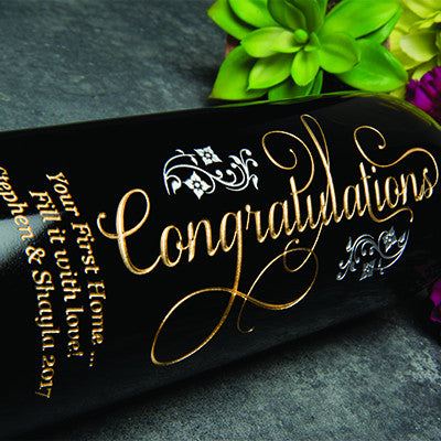 Joyful Congratulations Etched Wine