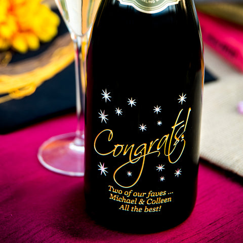 Congrats in the Stars Etched Wine