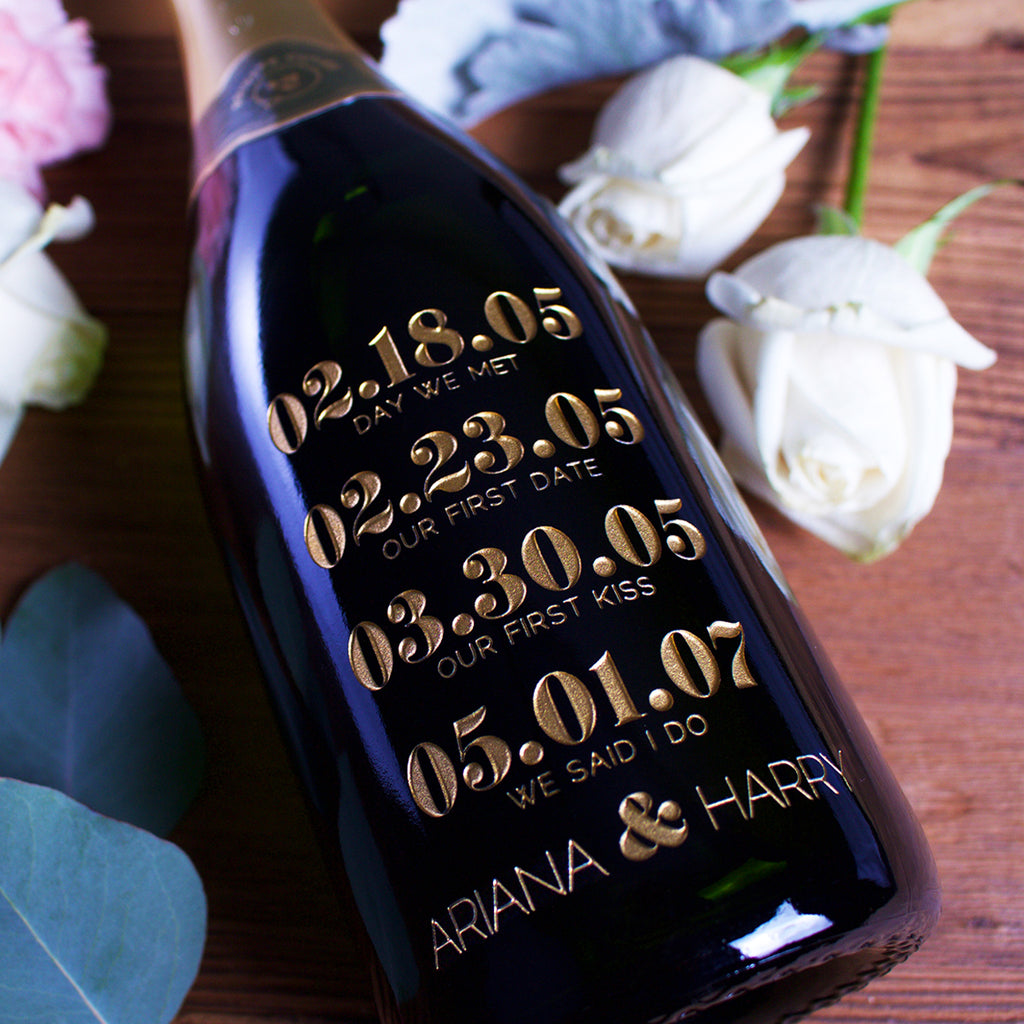 Special Dates Etched Wine