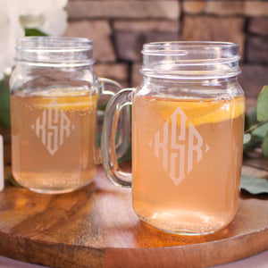 Diamond Monogram Mason Jar Mugs