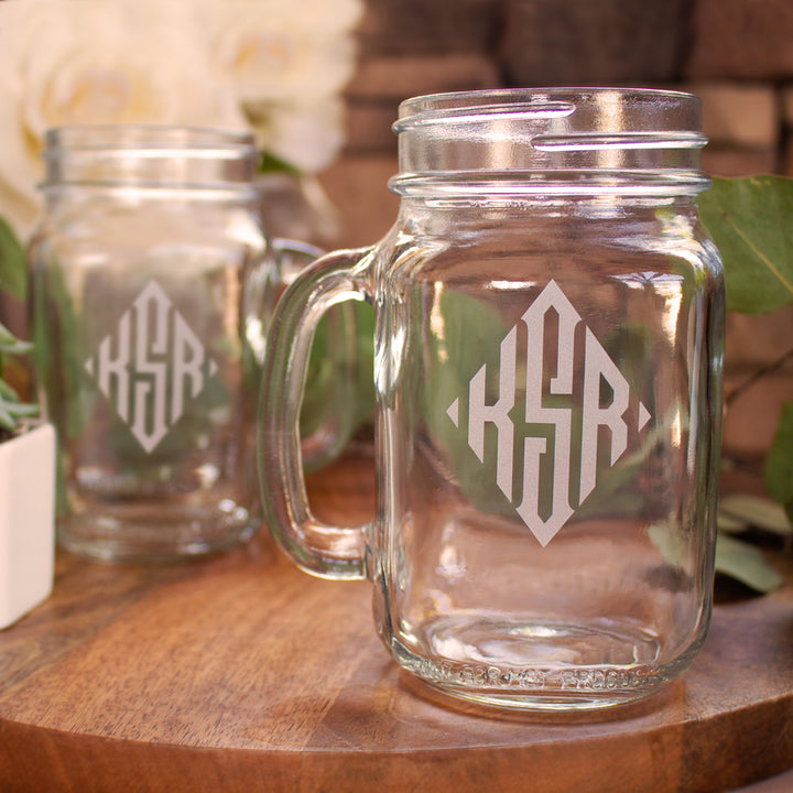 Diamond Monogram Mason Jar
