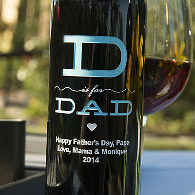 D is for Dad Etched Wine Etched Wine