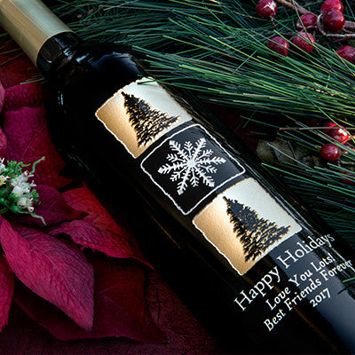 Elegant Christmas Etched Wine