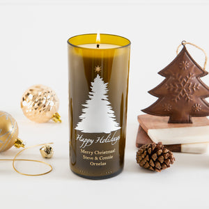 Elegant Tree & Star Personalized Candle