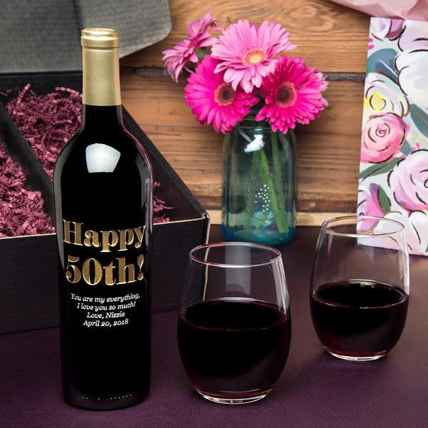 Eloquent Happy Birthday Etched Wine Gift Set