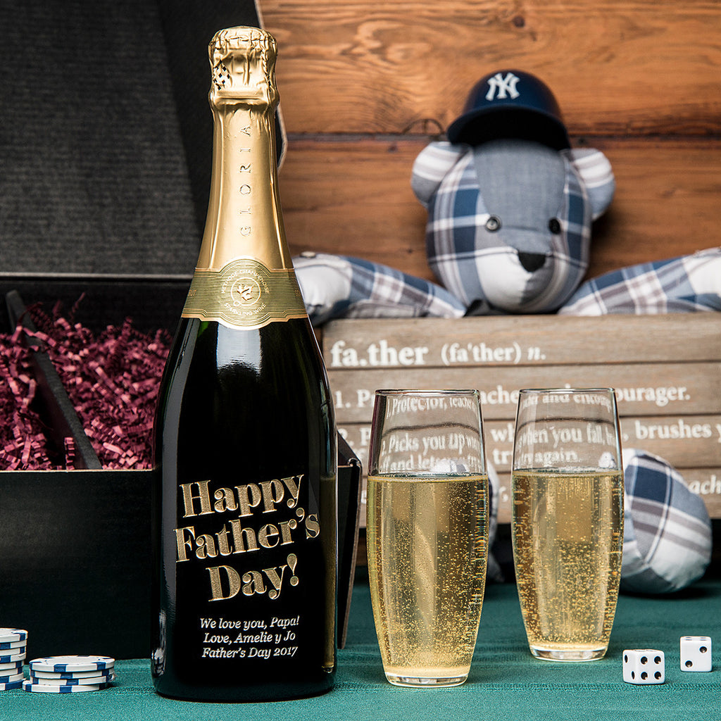 Eloquent Happy Father's Day Etched Wine Gift Set