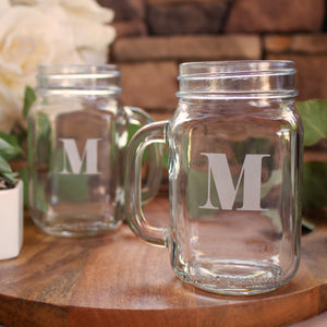 Eloquent Monogram Mason Jar Mugs