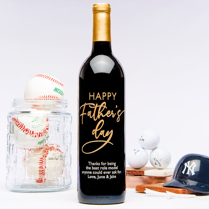 Father's Day Script text on a custom engraved wine bottle with baseball theme