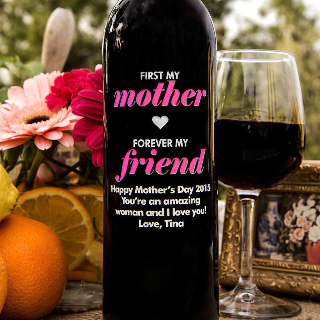 First My Mother Etched Wine