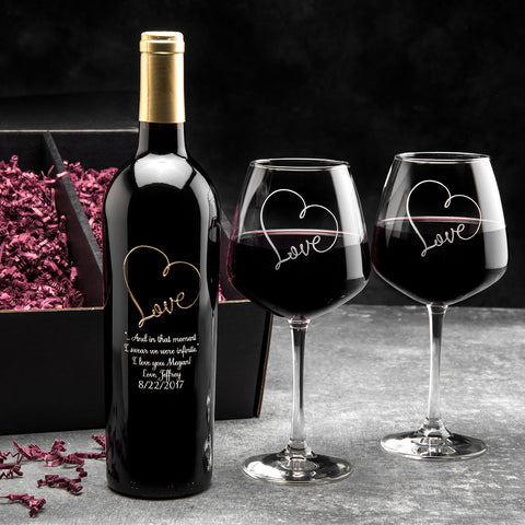 Love Script Infinity Etched Wine Gift Set