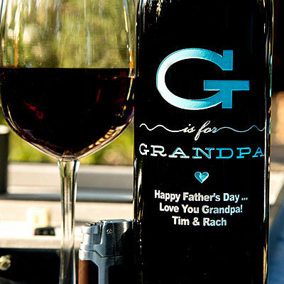 G is for Grandpa Etched Wine